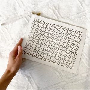 Tory Burch Perforated Clutch Wristlet White Patent